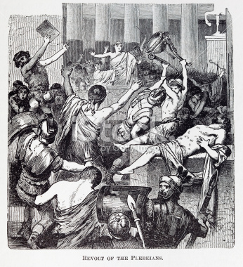 Nineteenth century engraving of the plebeian revolt. Source: http://i.istockimg.com/