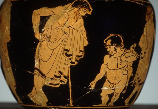 Disability in Ancient Greece. This piece from the Clinic Painter shows a two men in a courtship pose. One of the men is a dwarf or little person.