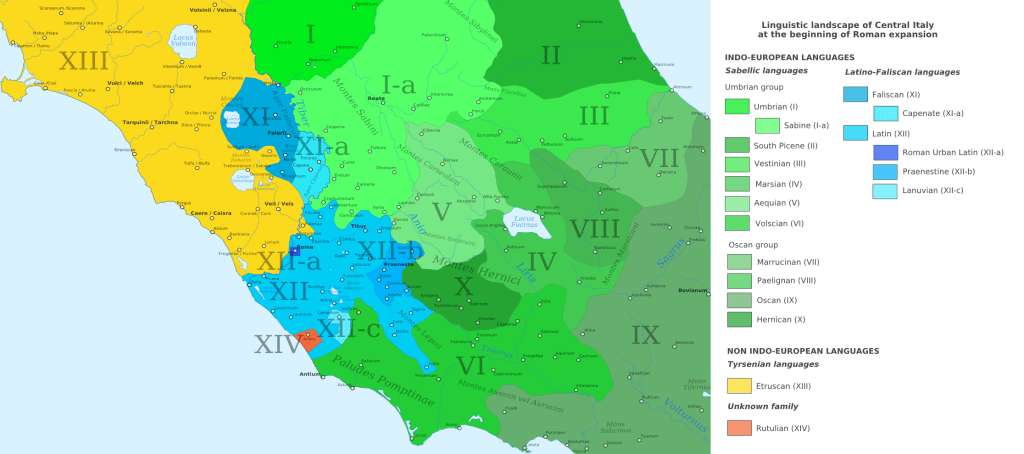Map of Ancient Italy according to language groups